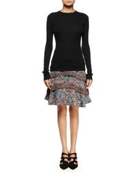 Proenza Schouler - Multicolor Printed Silk Georgette Tiered Skirt - Lyst
