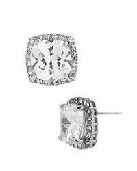 Betsey Johnson - Metallic Square Silvertone And Cubic Zirconia Stud Earrings - Lyst