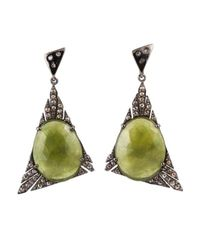 Bavna - Green Sterling Silver Earrings With Pave & Champagne Rose Cut Diamonds And Sapphire - Lyst