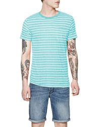 French Connection | Blue Stripe Crew Neck Regular Fit T-shirt for Men | Lyst