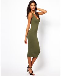 ASOS | Black Midi Vest Bodycon Dress | Lyst