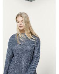 Violeta by Mango | Gray Long Knit Sweater | Lyst