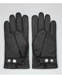 Reiss | Black Cantebury Dents Cashmere Lined Gloves for Men | Lyst