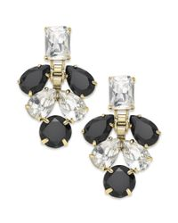 kate spade new york - Gold-tone Clear Crystal And Black Stone Chandelier Earrings - Lyst