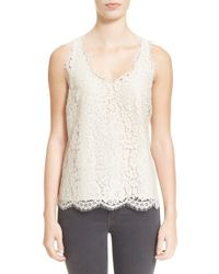 Joie | White 'cina' Scallop Edge V-neck Lace Shell | Lyst