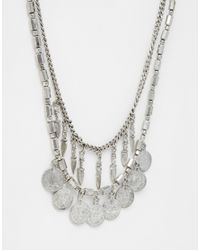 Pieces | Metallic Jensa Long Coin Necklace | Lyst