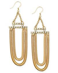 Guess | Metallic Two Row Chain Pavé Stone Drop Earrings | Lyst