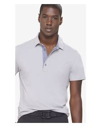 Express | Gray Chambray Placket Signature Polo for Men | Lyst