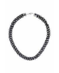 TOPSHOP | Black Rhinestone Bling Necklace | Lyst