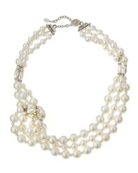 Jose & Maria Barrera - White Knotted Three-strand Simulated Pearl Necklace - Lyst