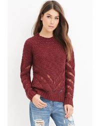 Forever 21 - Red Contemporary Chevron-patterned Sweater - Lyst