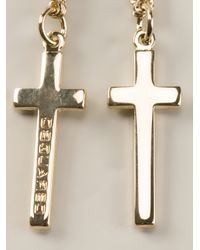 DSquared² - Metallic Double Cross Necklace for Men - Lyst