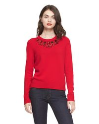 kate spade new york | Red Embellished Sweater | Lyst