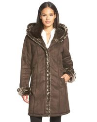 Gallery | Brown Hooded Faux Shearling Coat | Lyst