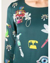 Mary Katrantzou - Green 'symbols' Shift Dress - Lyst