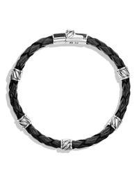 David Yurman   Metallic Leather Station Bracelet In Black Coral   Lyst