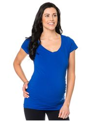Bumpstart Blue Cap-Sleeve V-Neck Ruched Top