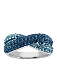 Lord & Taylor | Blue Sterling Silver And Crystal Crossover Ring | Lyst