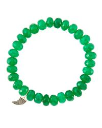 Sydney Evan - 8Mm Faceted Green Onyx Beaded Bracelet With 14K Gold/Diamond Small Horn Charm (Made To Order) - Lyst