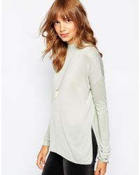 Vero Moda | Gray Fine Gauge Side Split Knitted Top | Lyst