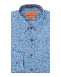 Simon Carter | Blue Printed Flower Shirt for Men | Lyst