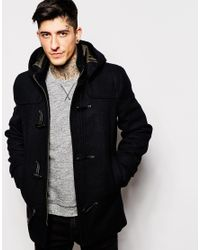 Only & sons Duffle Coat With Hood in Black for Men | Lyst