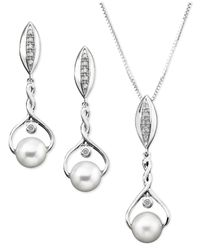 Macy's - Metallic Sterling Silver Pendant And Earrings Set, Diamond (1/10 Ct. T.W.) And Cultured Freshwater Pearl - Lyst