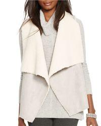 Lauren by Ralph Lauren | Gray Petite Faux Fur And Faux Suede Vest | Lyst