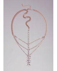Bebe - Metallic Crystal Leaf Head Chain - Lyst