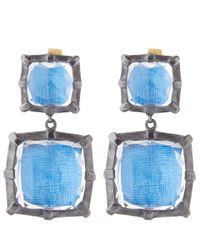 Larkspur & Hawk - Blue Silver Quartz Bella Double Drop Earrings - Lyst