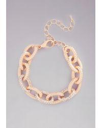 Bebe | Metallic Chainlink Crystal Bracelet | Lyst