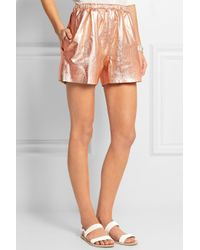 RED Valentino - Metallic Leather Shorts - Lyst