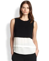 A.L.C. - Black Palmer Knit & Silk Layered Top - Lyst