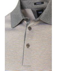 BOSS - Gray Slim-fit Polo Shirt In Mercerised Cotton: 'ancona 21' for Men - Lyst