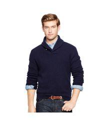 Polo Ralph Lauren - Blue Wool-angora Shawl Sweater for Men - Lyst