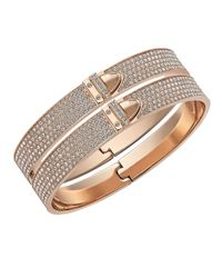 Swarovski | Pink Distinct Rose Goldtone Stainless Steel And Crystal Bangle | Lyst
