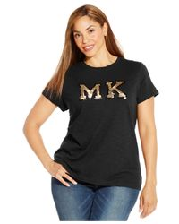 Michael Kors | Black Michael Plus Size Sequined Logo Tee | Lyst