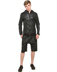 Giorgio Brato | Black Waxed and Washed Hooded Leather Jacket for Men | Lyst