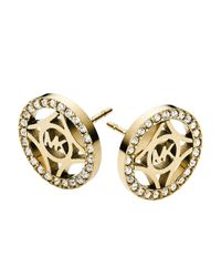 Michael Kors | Metallic Pavé Monogram Stud Earrings | Lyst