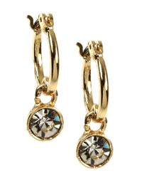 Nine West - Metallic Gold Hoop Crystal Drop Earrings - Lyst