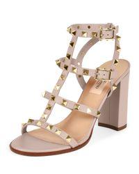 Valentino - Pink Rockstud Leather Sandals - Lyst