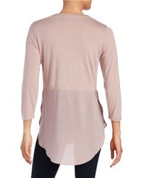 Two By Vince Camuto - Pink Layered Effect Top - Lyst