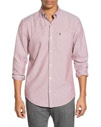 Original Penguin - Pink Trim Fit Print Oxford Shirt for Men - Lyst