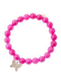 Sydney Evan - Purple 8Mm Fuchsia Agate Beaded Bracelet With 14K Rose Gold Diamond Butterfly Charm (Made To Order) - Lyst