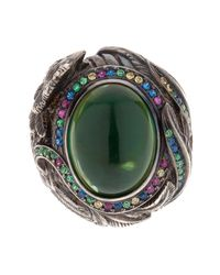 Queensbee - Green Rooster Cocktail Ring Gold - Lyst