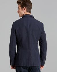 John Varvatos - Blue Usa Zip Pocket Check Sport Coat for Men - Lyst