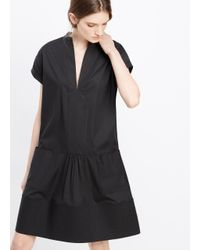 Vince - Black Stretch Poplin Rolled Sleeve Dress - Lyst