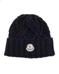 Moncler - Blue Cable Knit Logo Cap for Men - Lyst