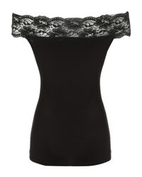 Jane Norman | Black Off The Shoulder Lace Detail Top | Lyst