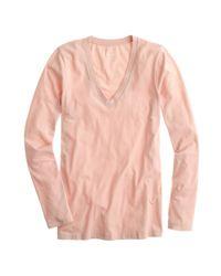 J.Crew - Pink Tissue Longsleeve Vneck Tee - Lyst